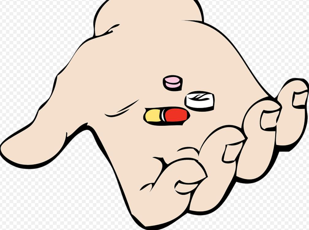 léky v ruce